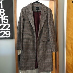 Petite Houndstooth Trench Coat Size 4